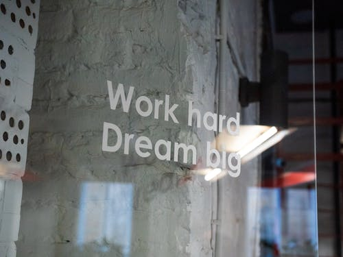 Work Hard Dream Big Writing On Glass Case