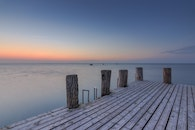 jetty, sea, dawn