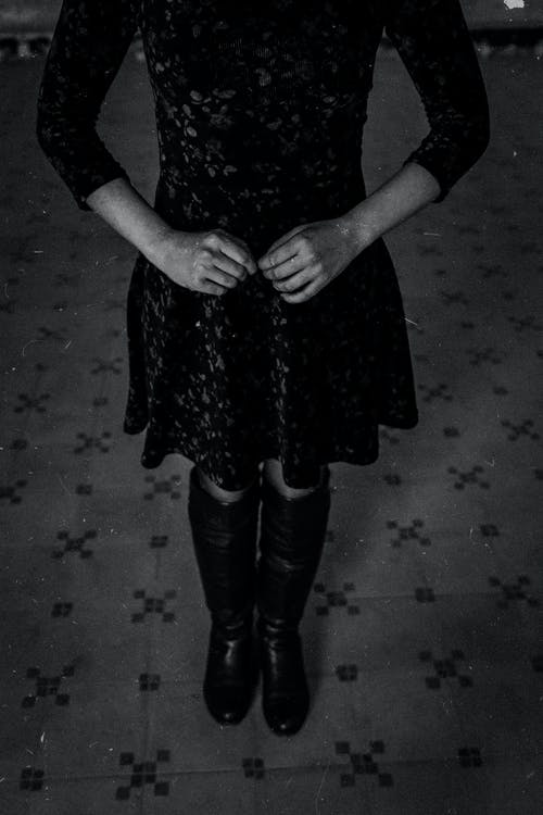 Greyscale Photography of Person Wearing Dress