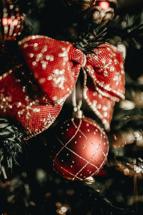 Close-up Photography Of A Red And Gold Bow Hanging On A Christmas Tree