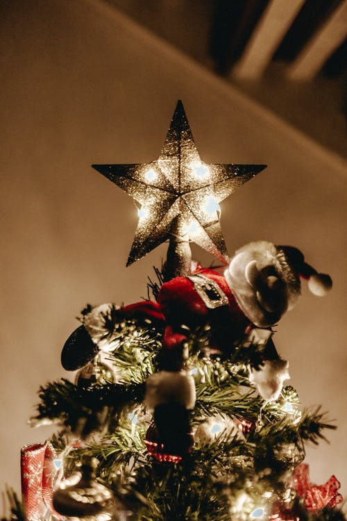 Low Angle Shot Of The Illuminated Star On Top Of a Christmas Tree