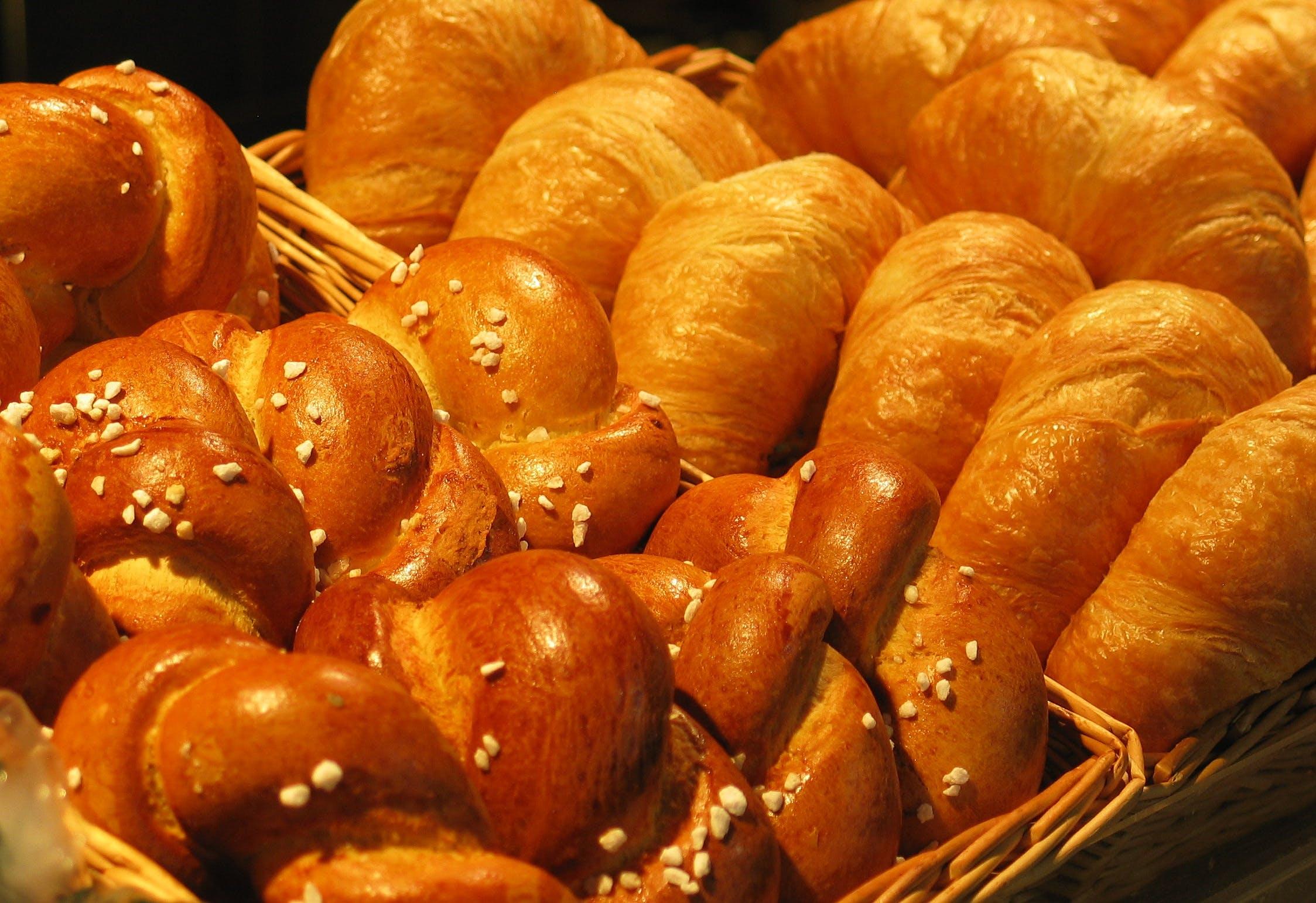 Baked Breads in Brown Wicker Basket