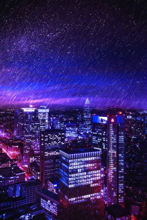 คลังภาพถ่ายฟรี ของ การเปิดรับแสง, ช่วงเย็นท้องฟ้า, ตึกระฟ้า, ถนน