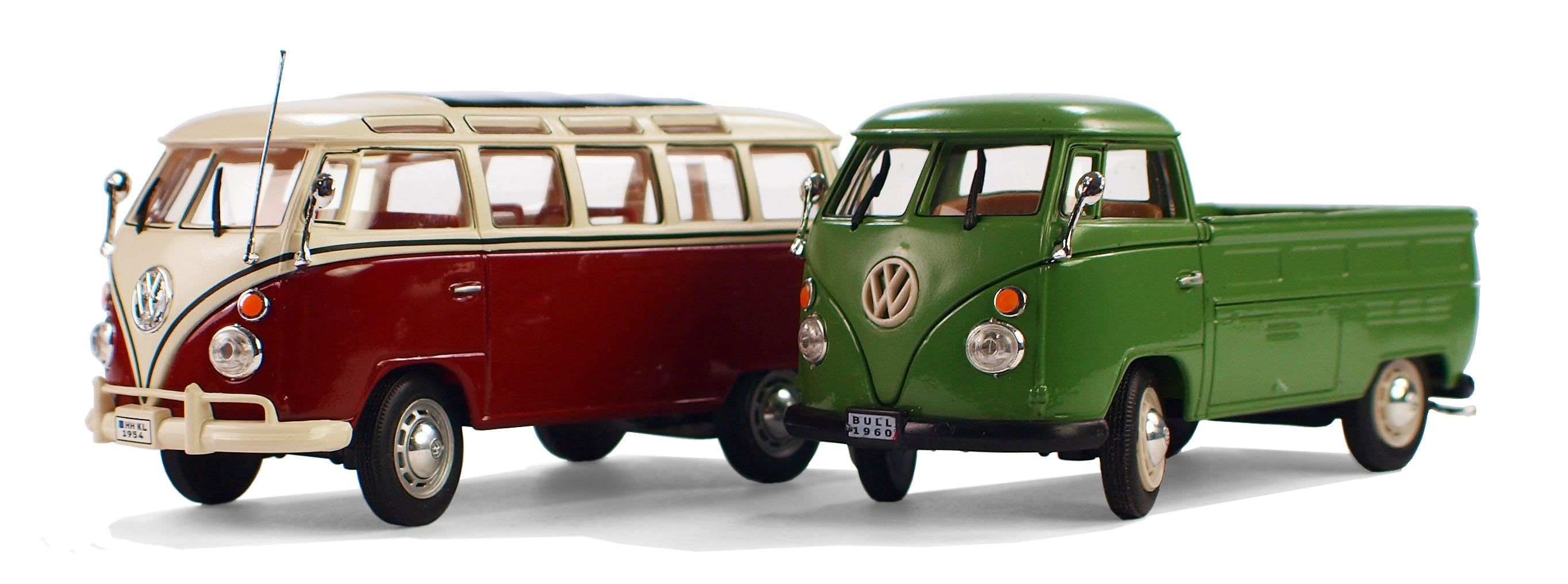 Two Red Volkswagen T2 and Green Volkswagen T1 Die-cast Models
