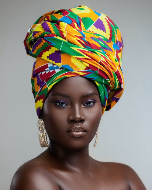 Woman Wearing Multicolored Turban