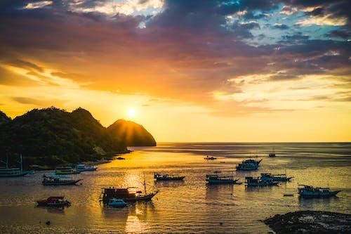 Free stock photo of boats, golden horizon, hill