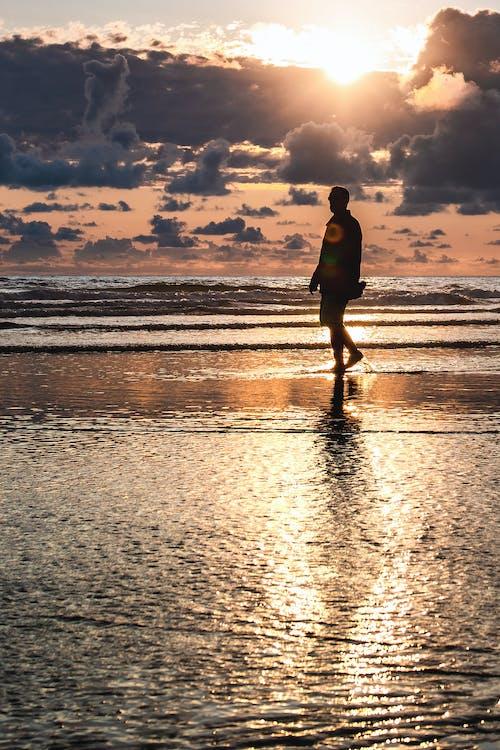 Man Walking on Seashore during Golden Hour