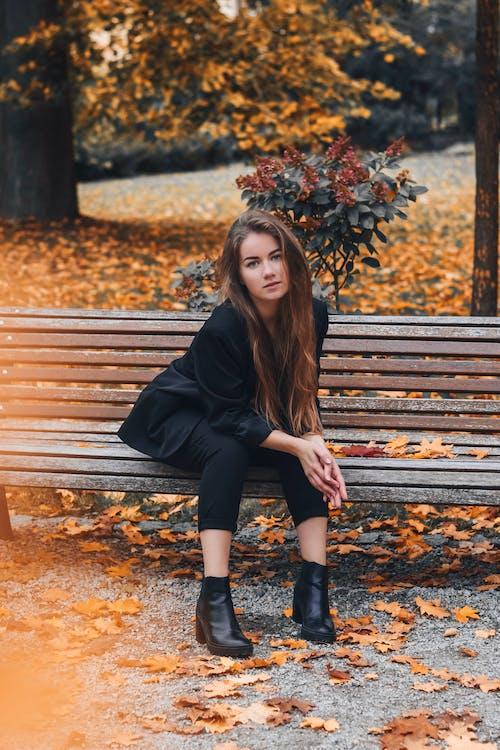下落, 公園, 咖啡色頭髮的女人, 坐 的 免费素材照片