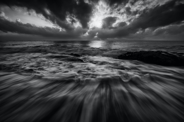beach, black-and-white, dramatic