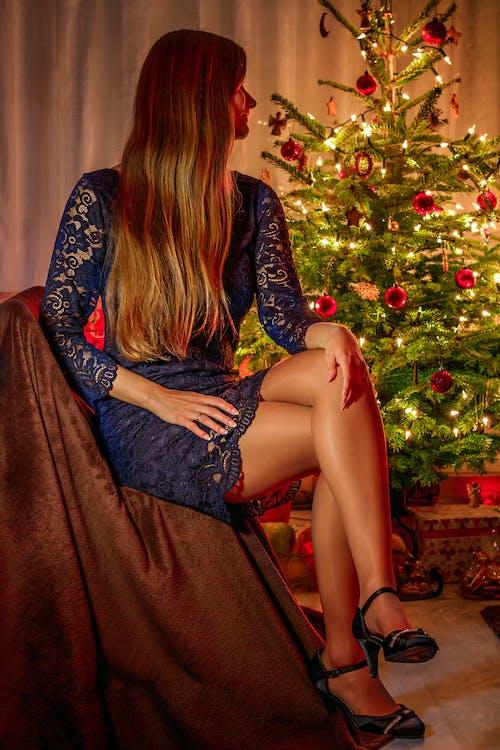 Free stock photo of christmas, christmas lights, christmas tree, legs