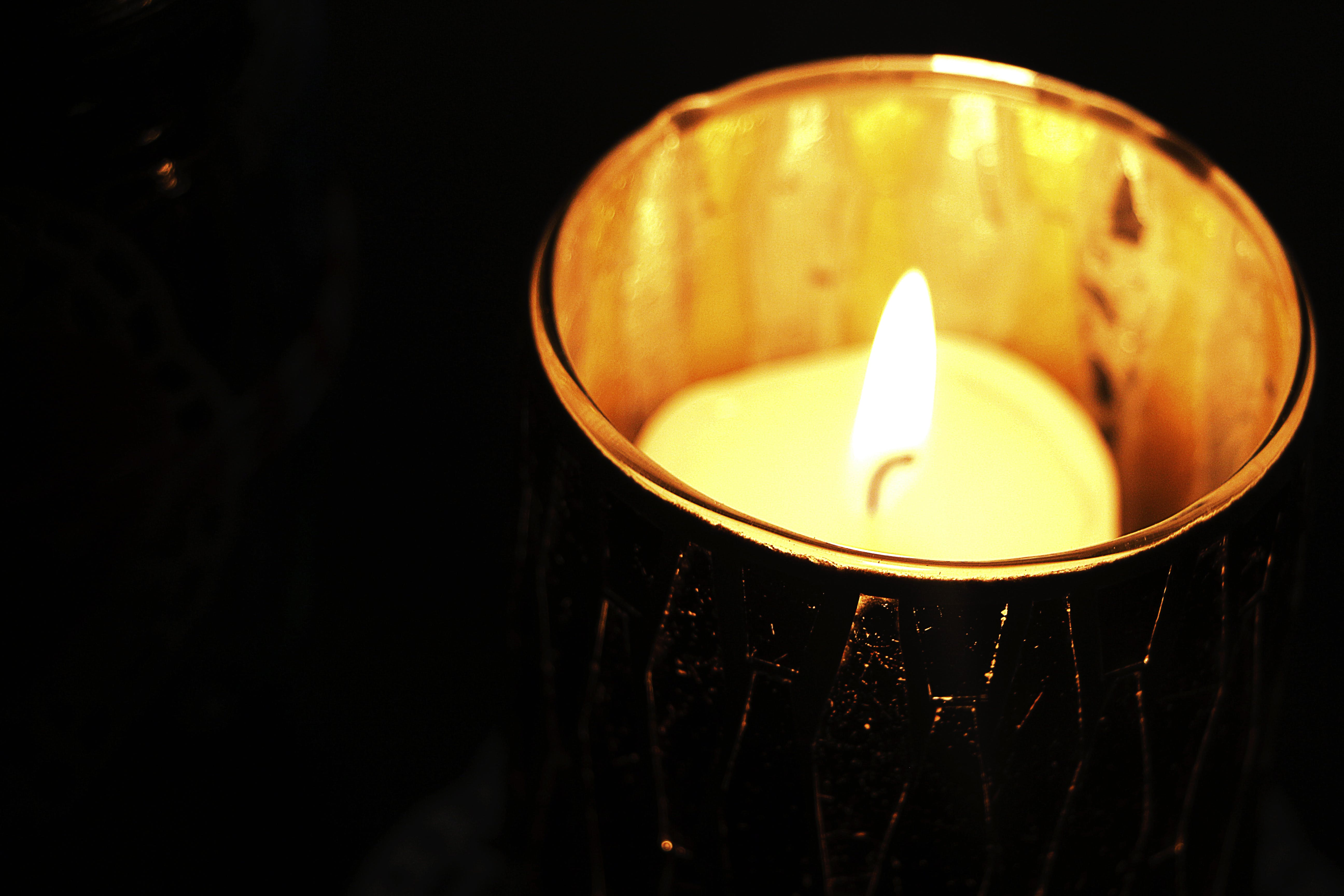 Flame on White Tealight Candle