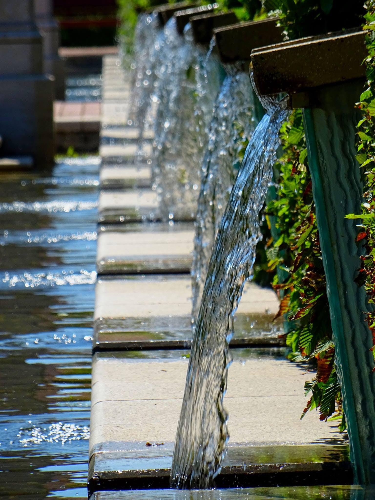 flow, fountain, garden