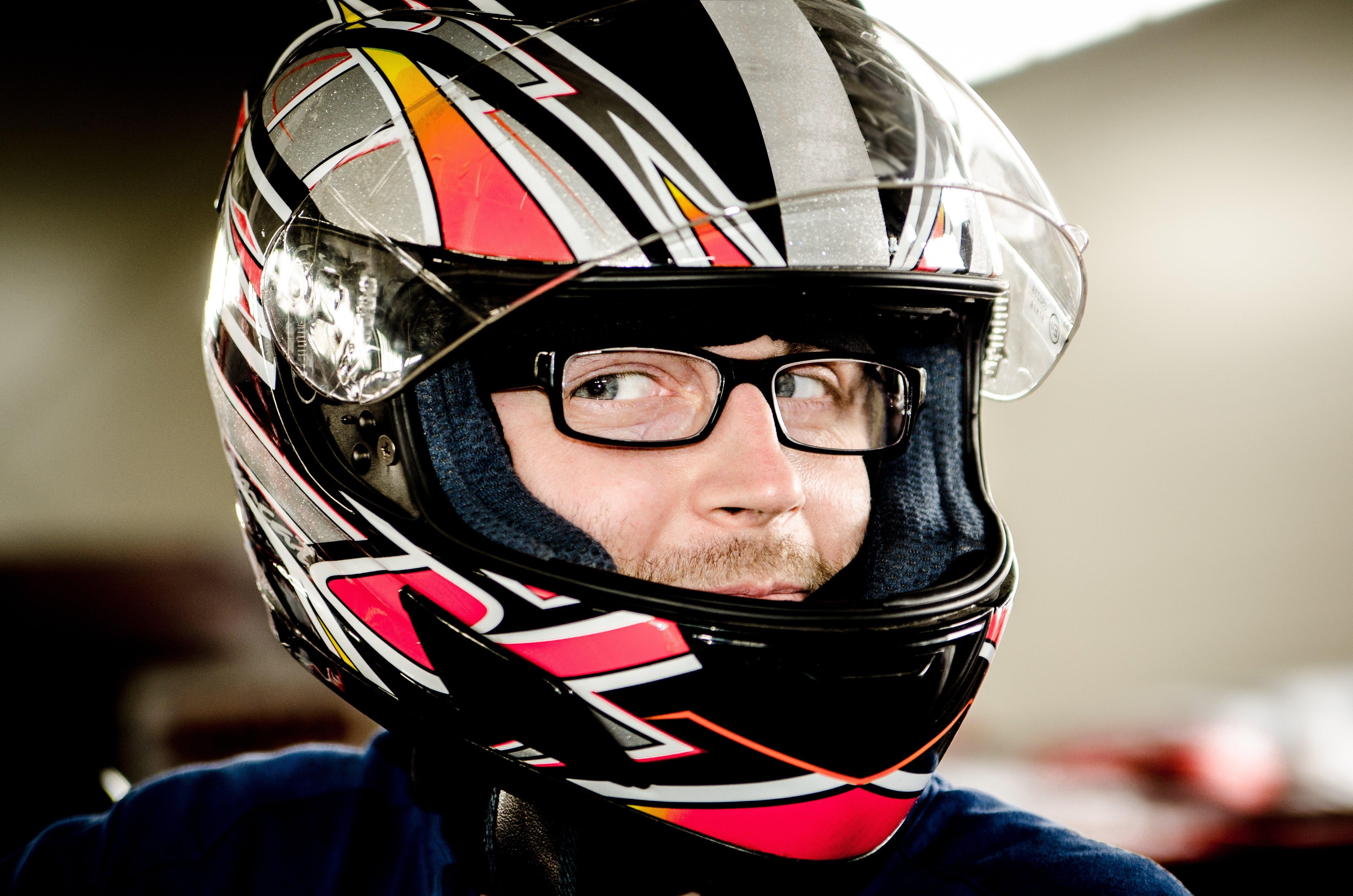 Man Wearing Black Gray Red Motorcycle Helmet