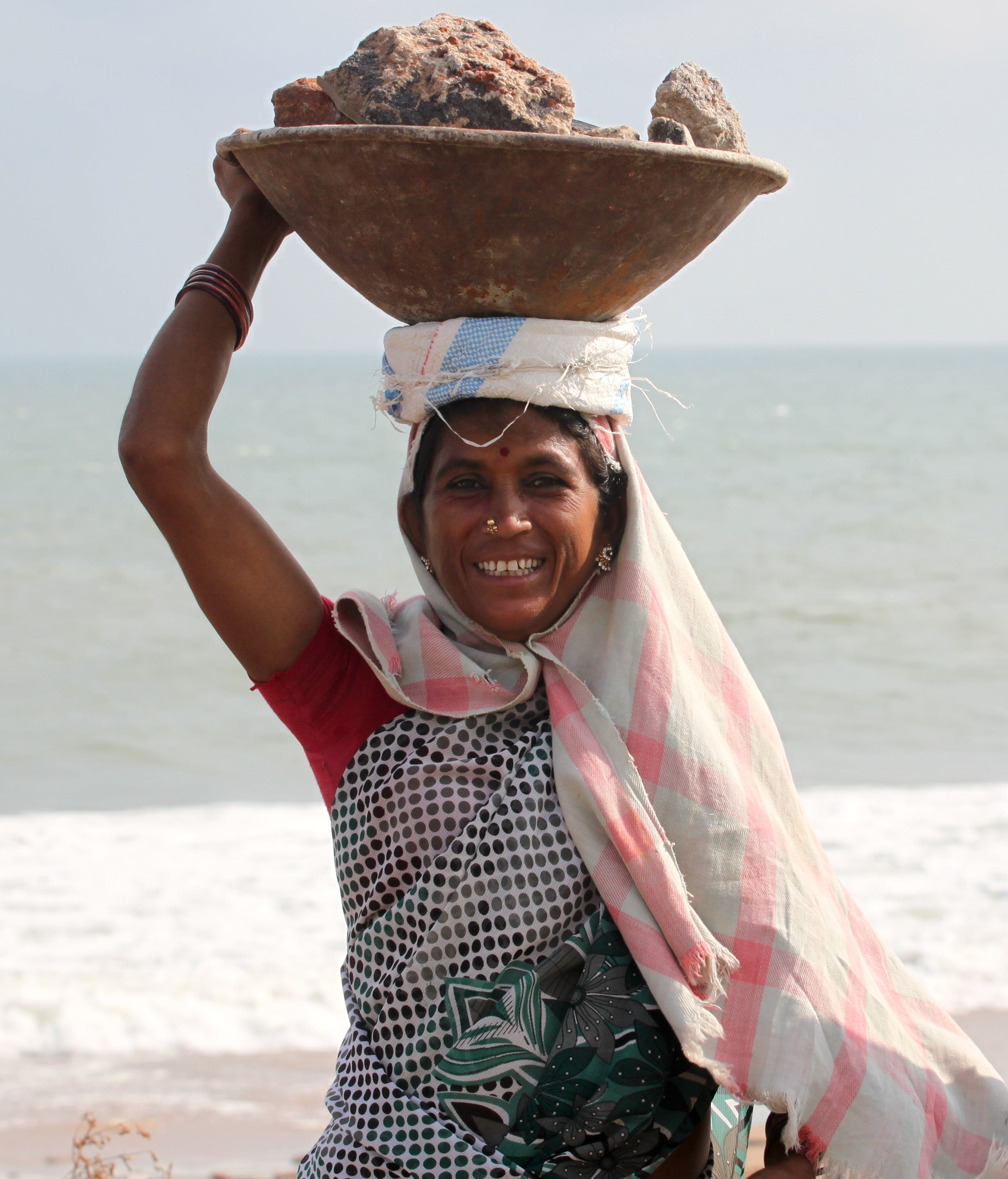 Free stock photo of woman, construction, rocks, work