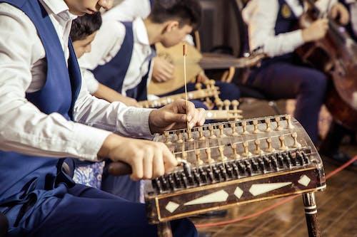 Crop musician tuning classical santoor instrument