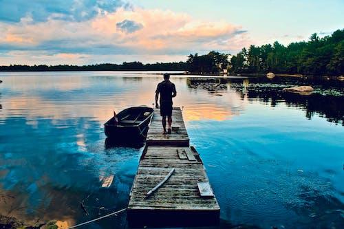 Foto d'estoc gratuïta de aigua, capvespre, llac, moll