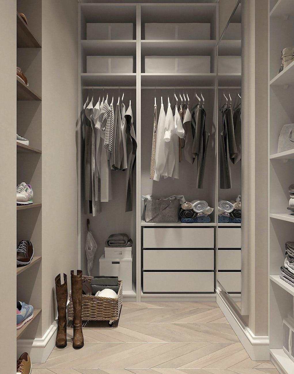 Walk in closet floors to clean.