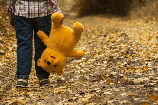 Boy Carrying Bear Plush Toy