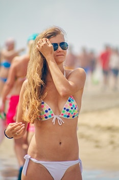 Free stock photo of sea, person, beach, sunglasses