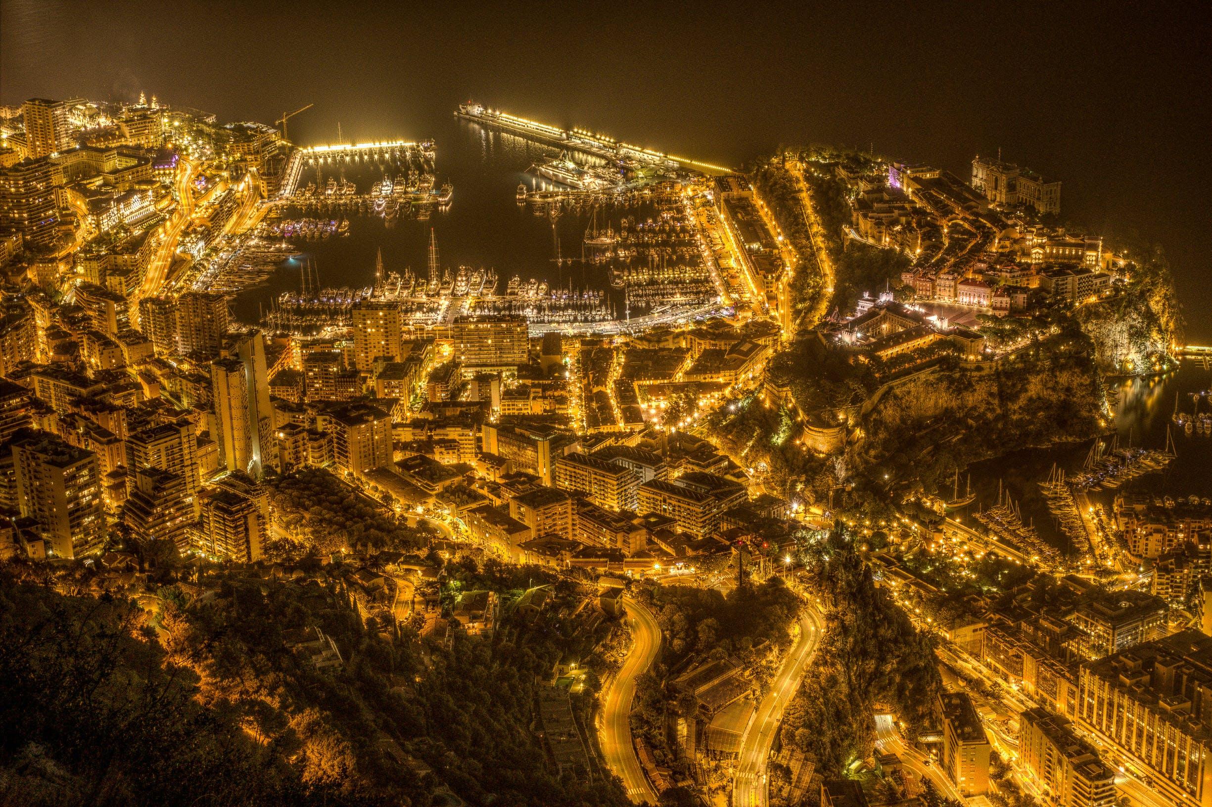 Free stock photo of city, monaco, night, port