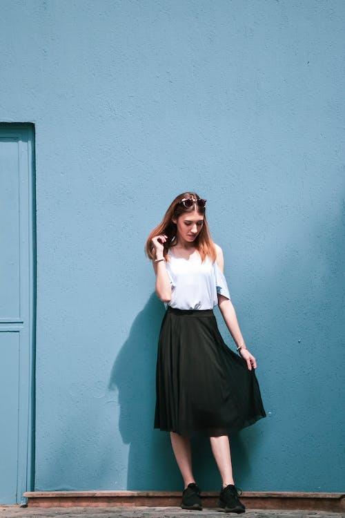 bức tường màu xanh, buổi chụp ảnh, chụp ảnh