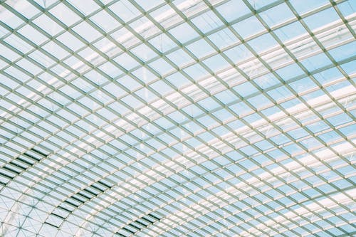 Low Angle Shot Of The Skylight Ceiling Of A Modern Building