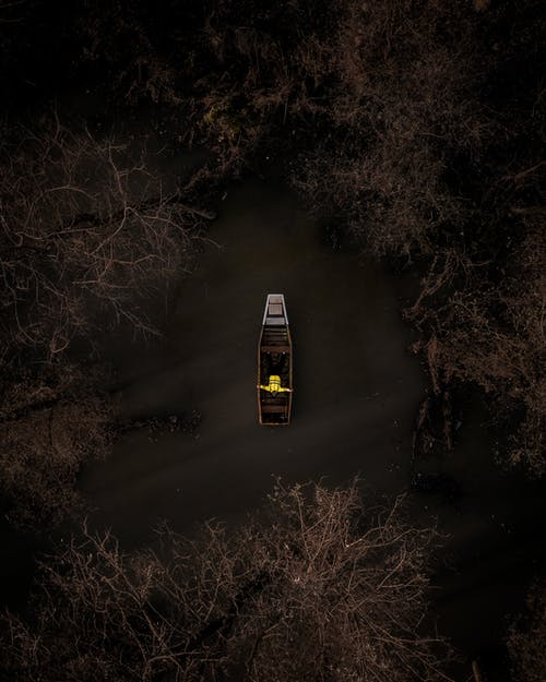 Bird's Eye View Of Person On Boat