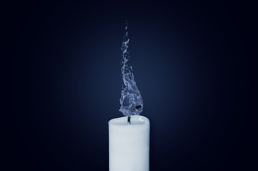 White Candle With Water Dew