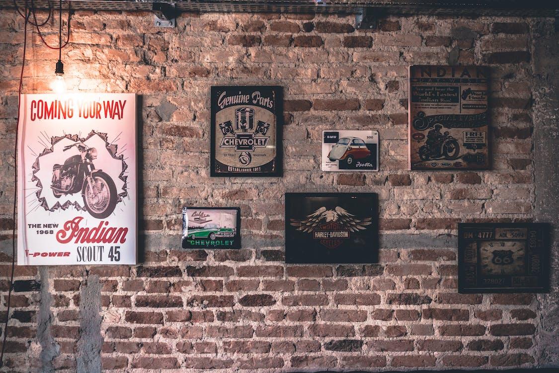 กรอบรูป, กำแพงอิฐ, ขรุขระ