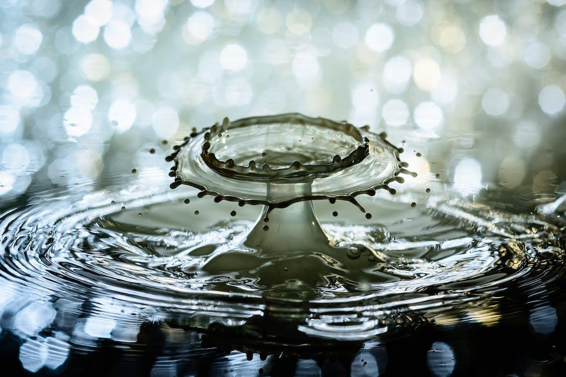 bryzgać, kropla wody, marszczyć się