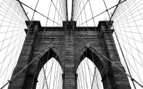 Foto stok gratis brooklyn, hitam & putih, jembatan, jembatan brooklyn