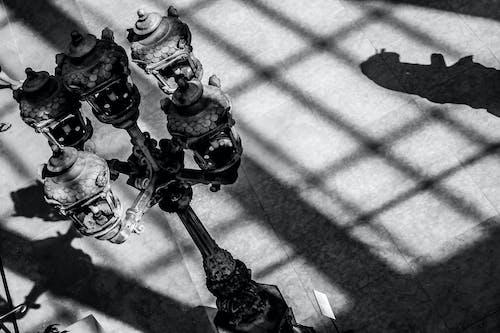 Free stock photo of b&w, lamp, shadow