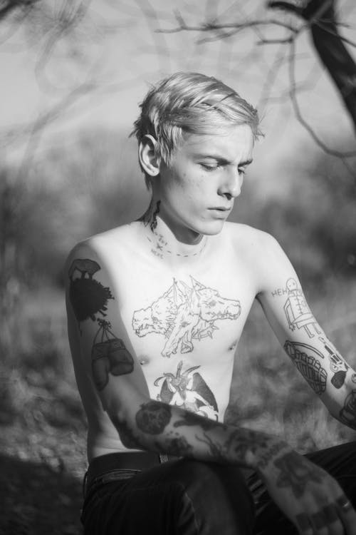 Monochrome Photo Of Topless Man