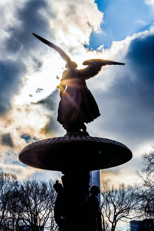 中央公園, 光, 噴泉, 天使 的 免费素材照片