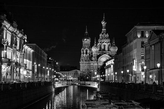 Free stock photo of black-and-white, city, lights, boats