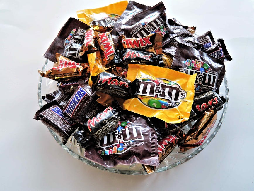 Image of a bowl of sweets including mars bars, snickers and twix