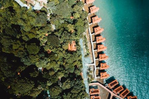 Aerial Shot Of Villas By the Beach
