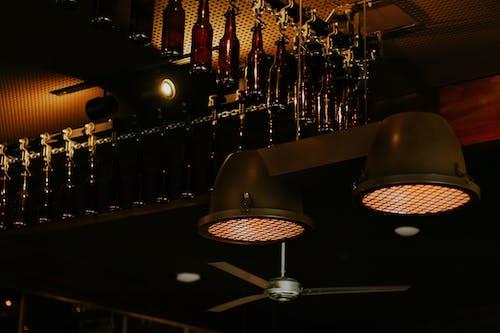 Two Round Black Metal Pendant Lamps