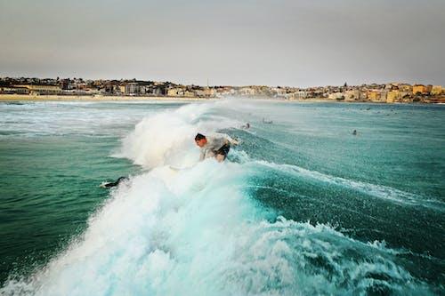 Fotobanka sbezplatnými fotkami na tému kývať, more, muž, oceán