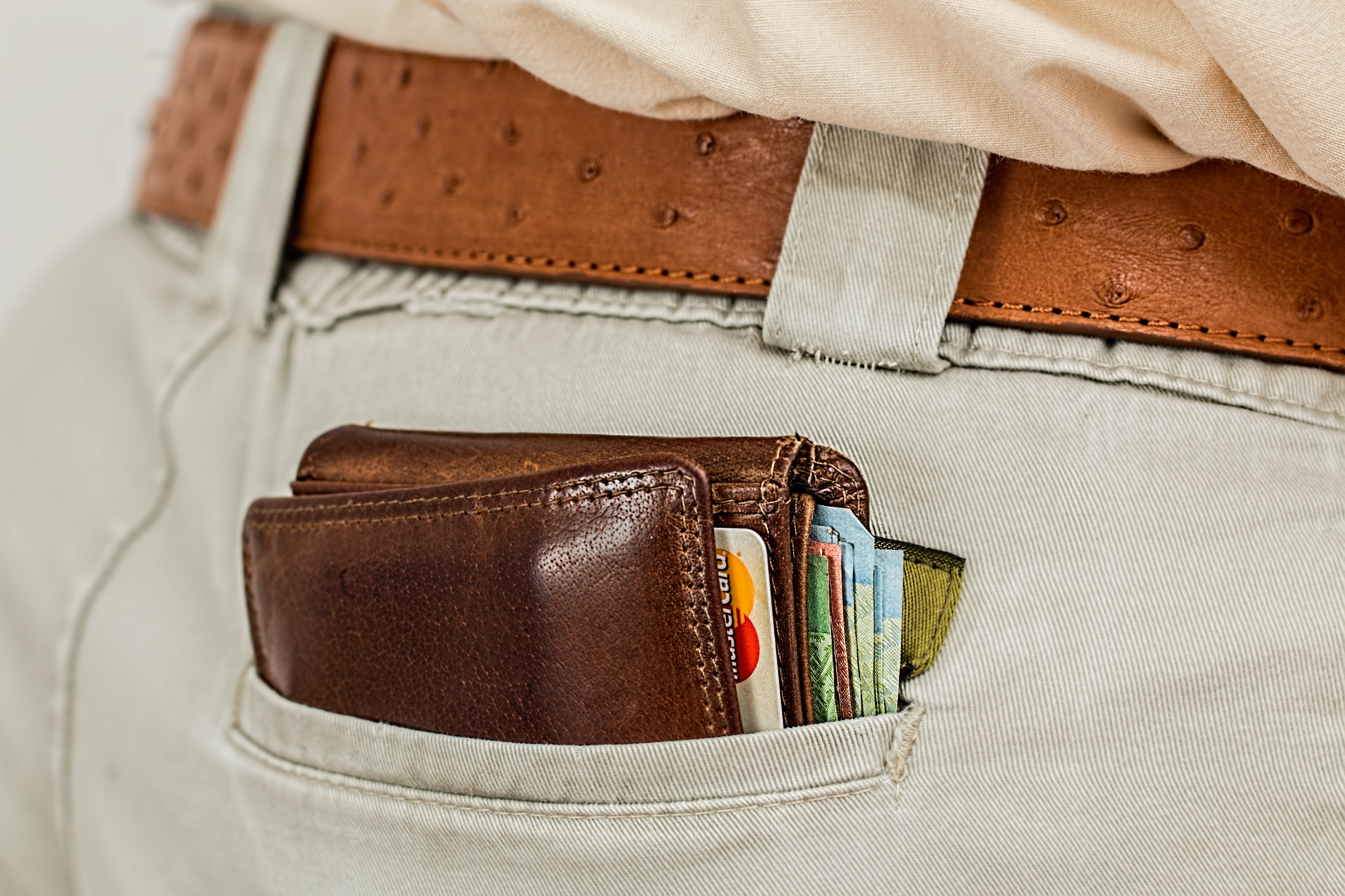 Brown Leather Bifold Wallet at the Pocket