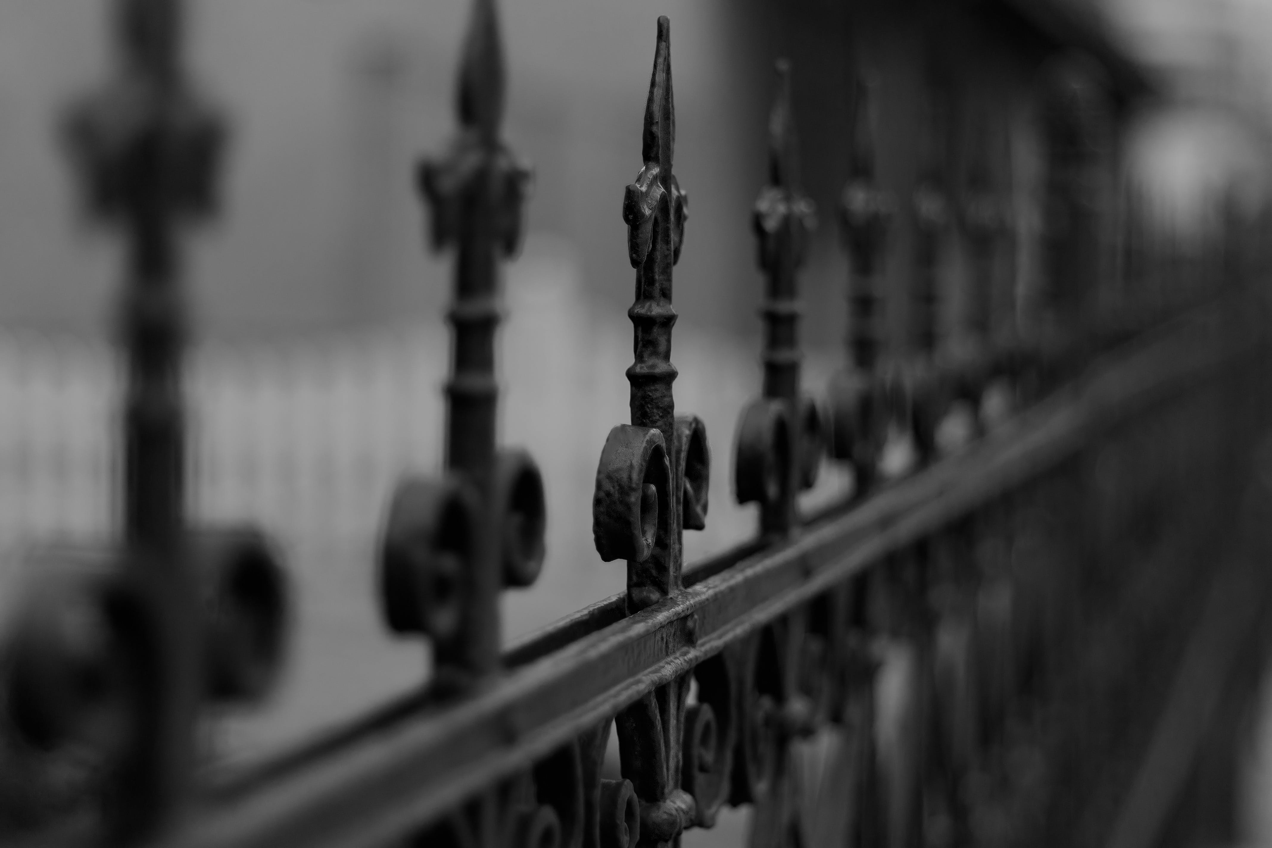 Základová fotografie zdarma na téma černobílý, hloubka ostrosti, kov, plot