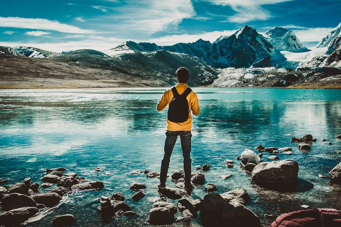 achteraanzicht, avontuur, backpack