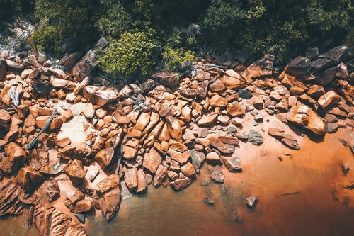 Aerial Photography of Boulders and Trees