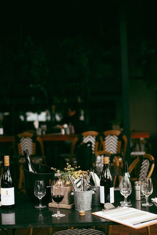 Free stock photo of alcohol, black, dark, dinner table