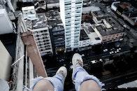 city, person, legs