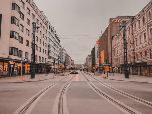 Empty Street With Tramway