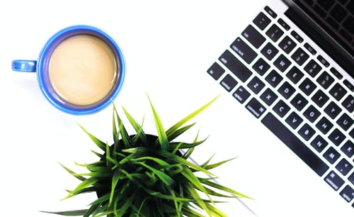 Free stock photo of blogging, coffee, flat lay, greenery