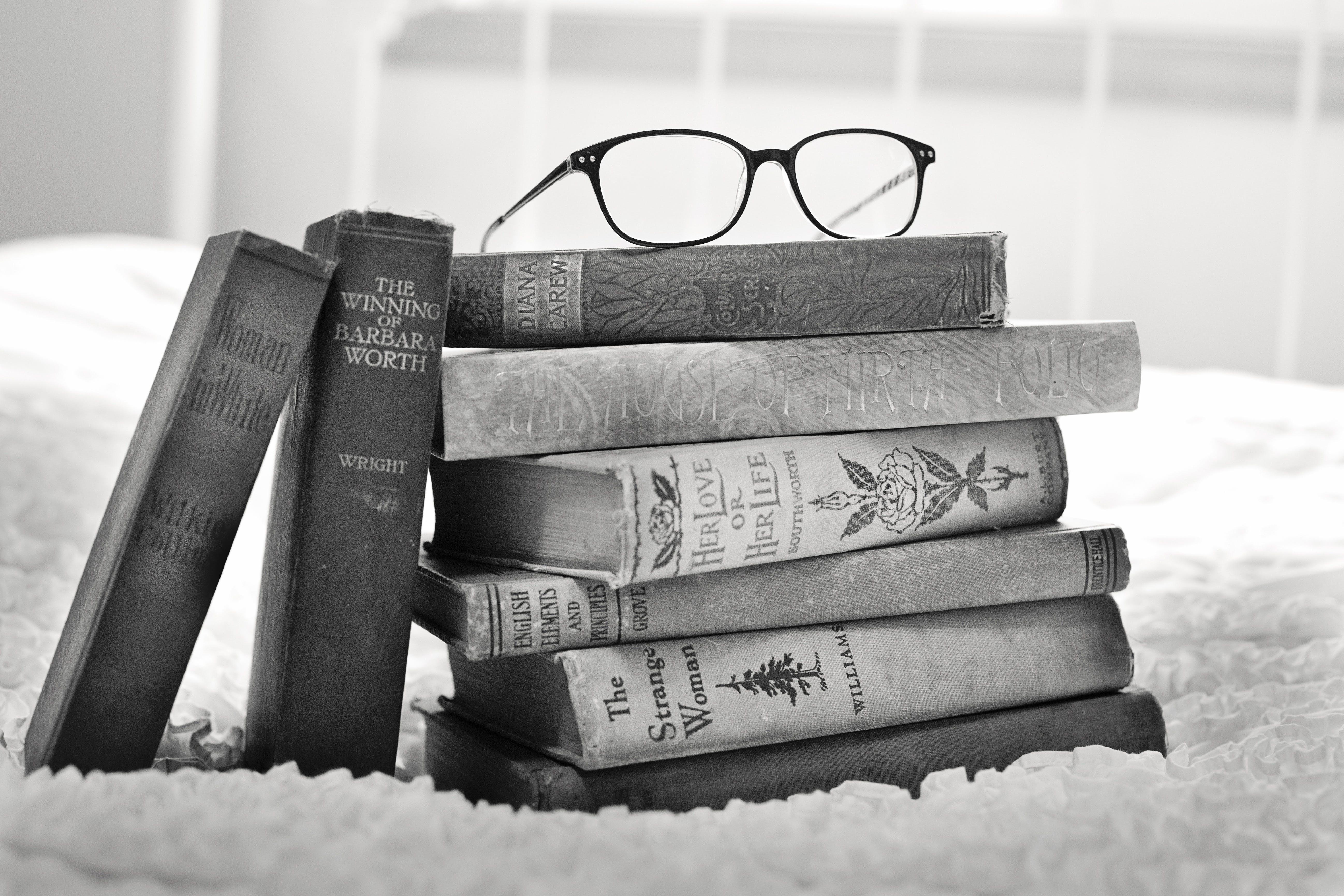 antique, black-and-white, books