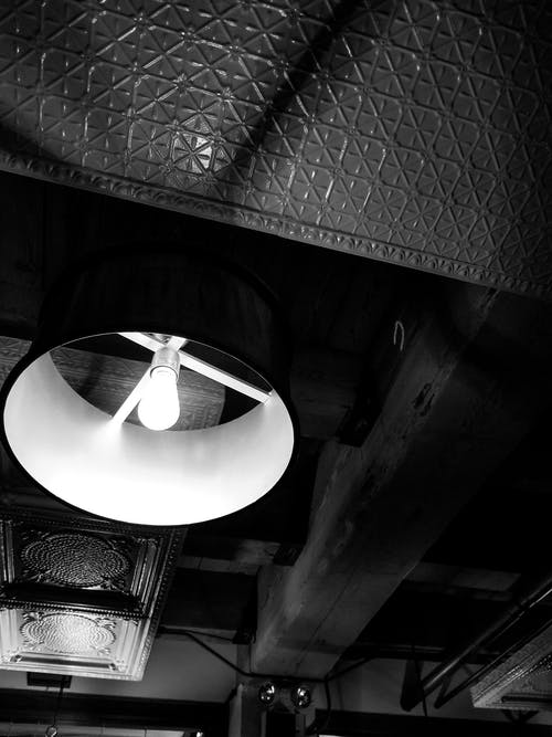 Free stock photo of black and white, ceiling lights, restauarant