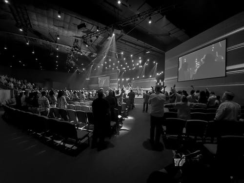 Free stock photo of black and white, church, concert, crowd